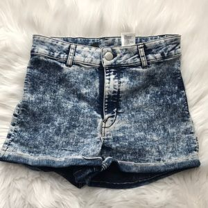 H&M Divided High Rise Acid Wash Shorts